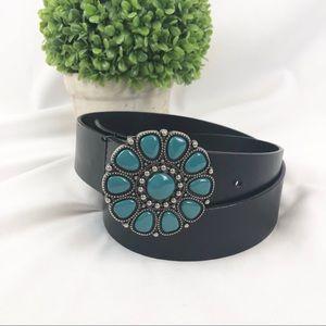 NY&C black leather boho belt turquoise buckle M